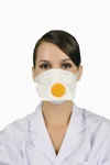 Disposable duckbill respirator with valve